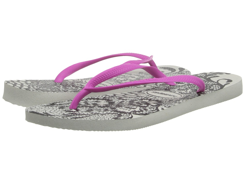 Havaianas - Slim Lace Flip Flops (White/Pink) Women's Sandals