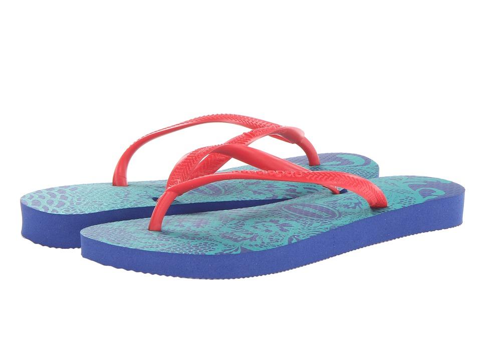 Havaianas - Slim Lace Flip Flops (Marine Blue) Women
