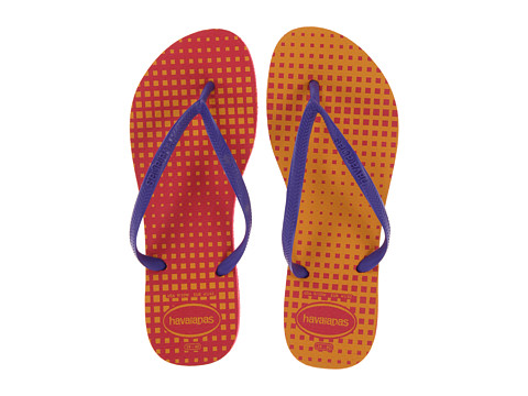 Havaianas - Slim Graphic Flip Flops (Neon Pink) Women's Sandals