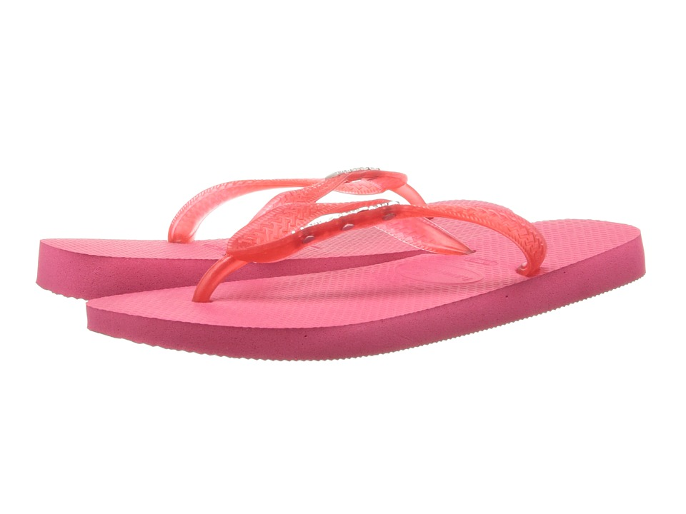 Havaianas - Top Logo Metallic Flip Flops (Neon Pink) Women's Sandals