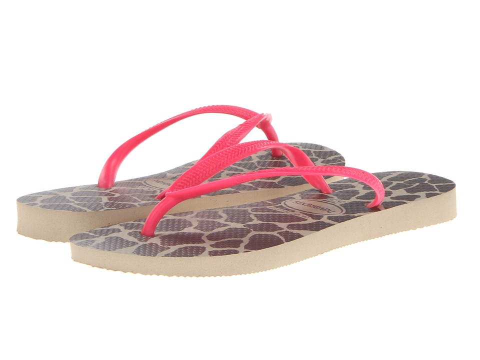 Havaianas - Slim Animals Fluo Flip Flops (Sand Grey/Pink) Women