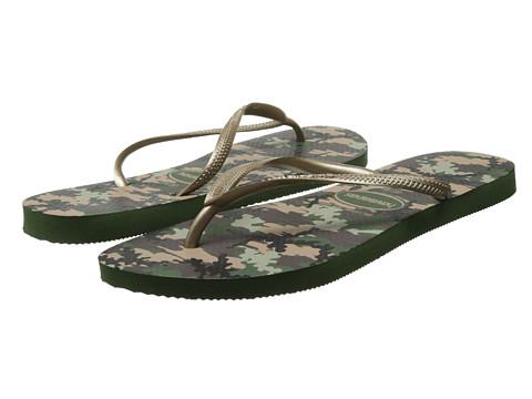 Havaianas - Slim Camuflaga Flip Flops (Olive Green) Women