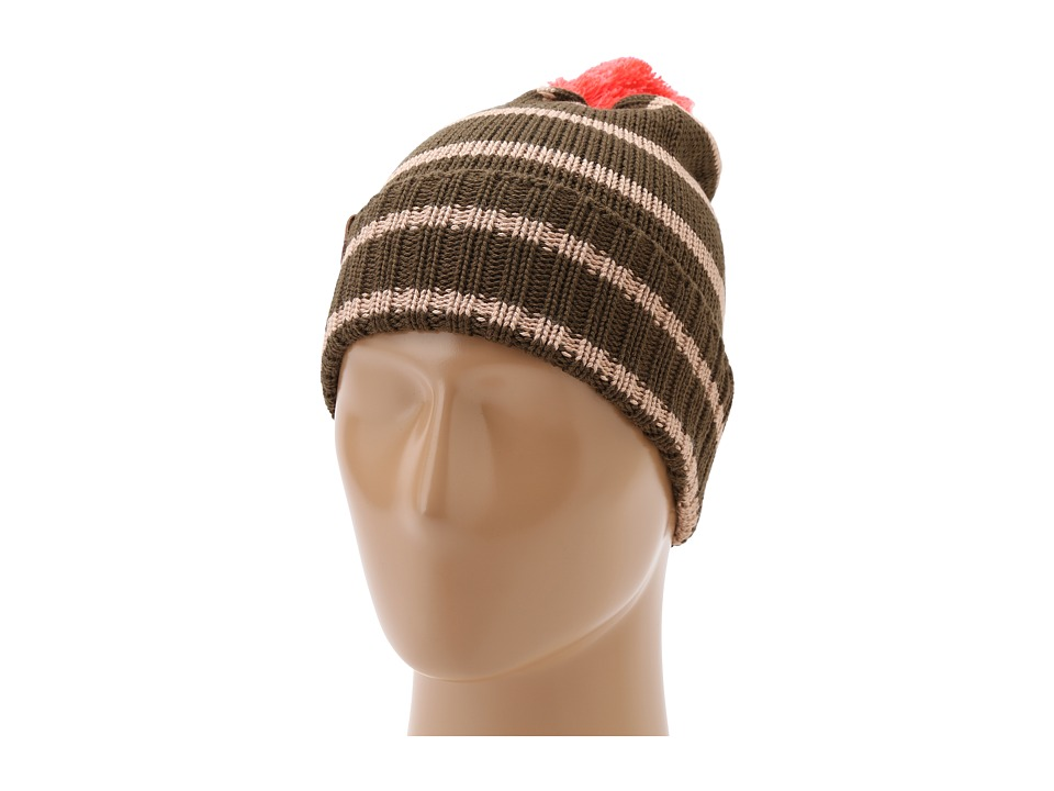 Sperry Top-Sider - Wool Blend Striped Watch Cap w/ Contrast Pom (Olive) Beanies