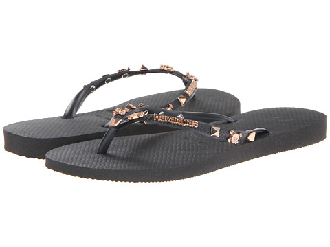 Havaianas - Slim Hardware Flip Flops (Black/Black) Women's Sandals