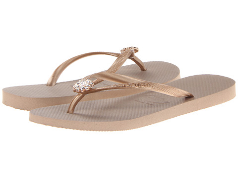 Havaianas - Slim Crystal Poem Flip Flops (Rose Gold/Rose Gold) Women