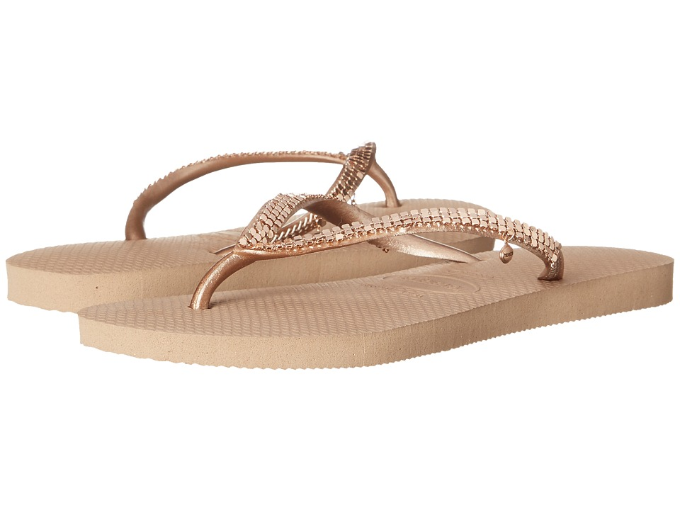 Havaianas - Slim Metal Mesh Flip Flops (Rose Gold) Women's Sandals