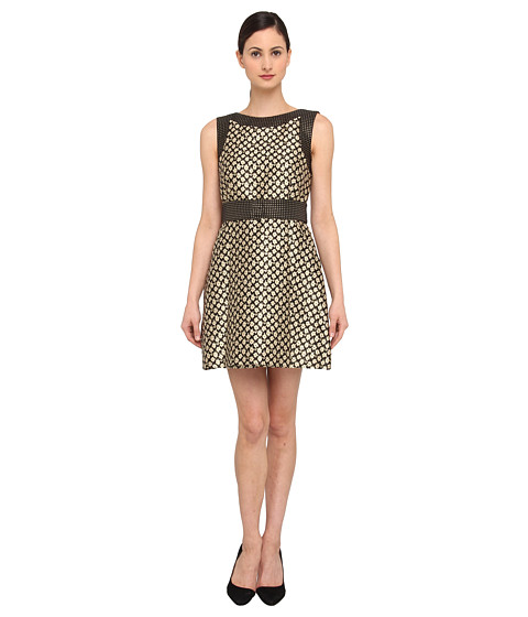 RED VALENTINO - Floral Jacquard and Polka Dot Dress (Cream) Women's Dress