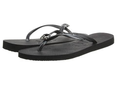 Havaianas - Slim Flower Flip Flops (Black) Women's Sandals