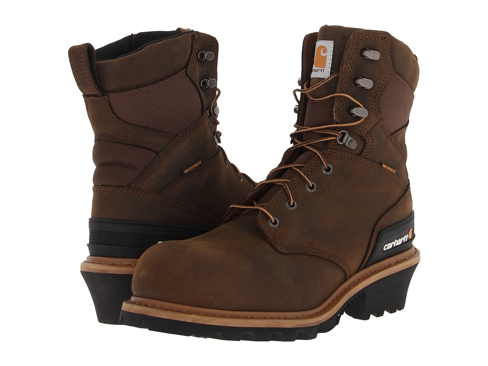 Carhartt - CML8360 8 WP Composite Toe Logger Boot (Crazy Horse Brown) Men's Work Lace-up Boots