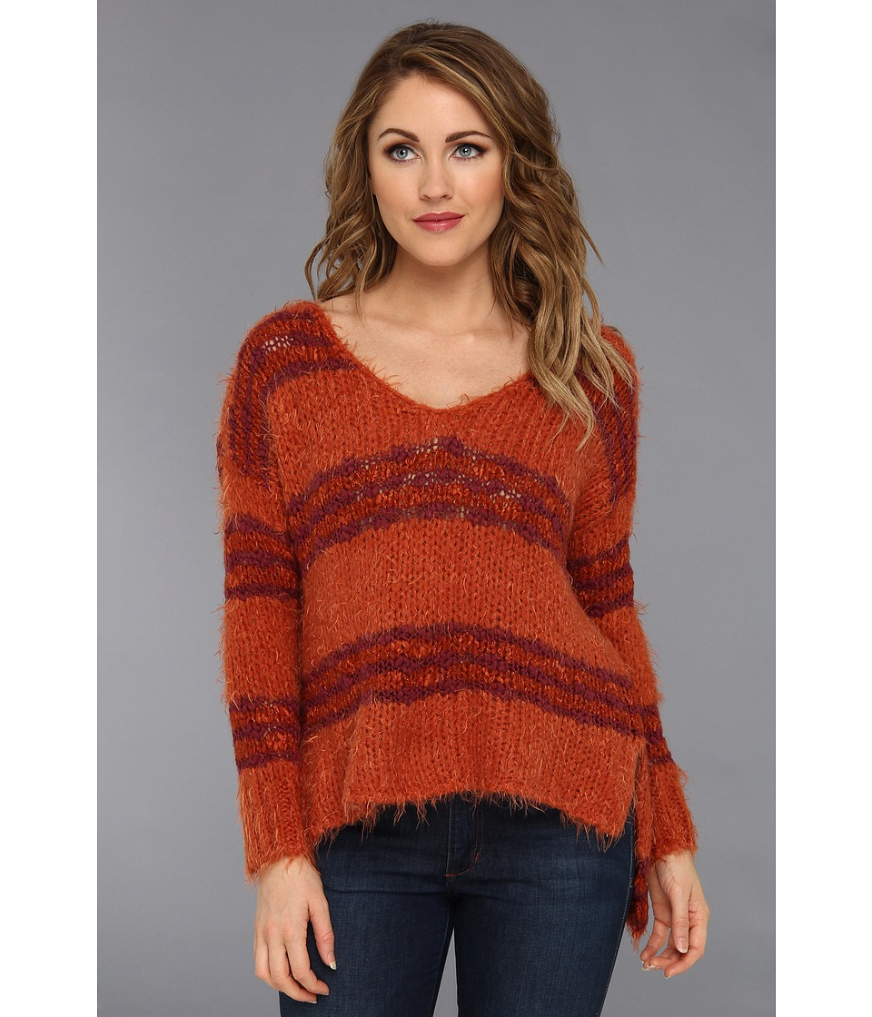 Free People - Linus Stripe Pullover (Paprika Combo) Women's Clothing