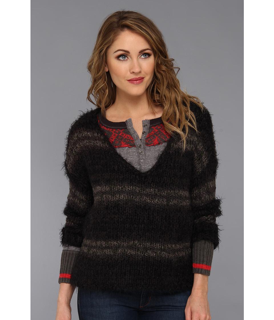 Free People - Linus Stripe Pullover (Washed Black) Women
