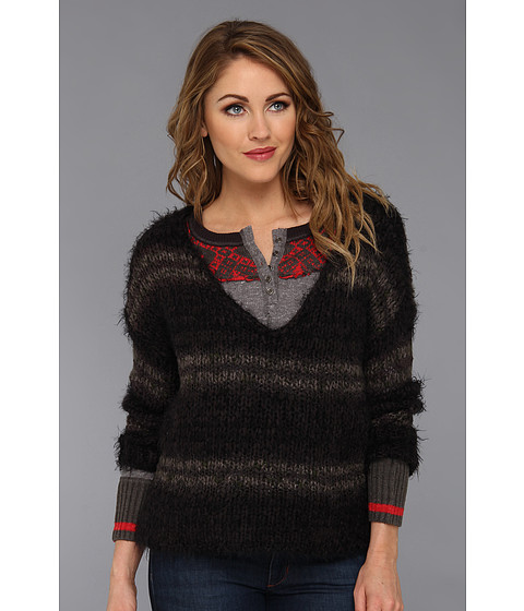 Free People - Linus Stripe Pullover (Washed Black) Women