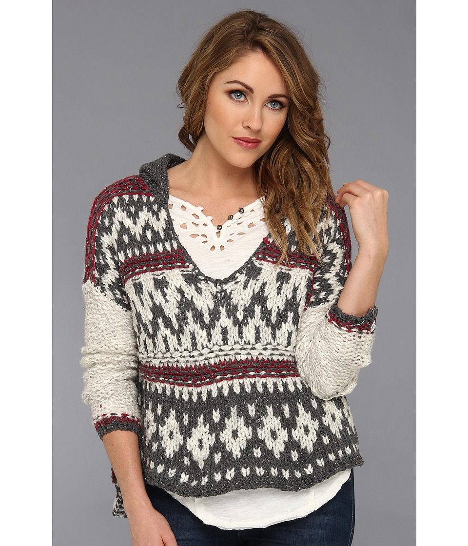 Free People - Hooded Fairisle Pullover (Charcoal Combo) Women's Sweatshirt