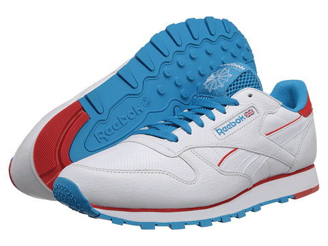 Reebok Lifestyle Classic Leather Perf (White/Bomb Blue/Red) Men's Classic Shoes