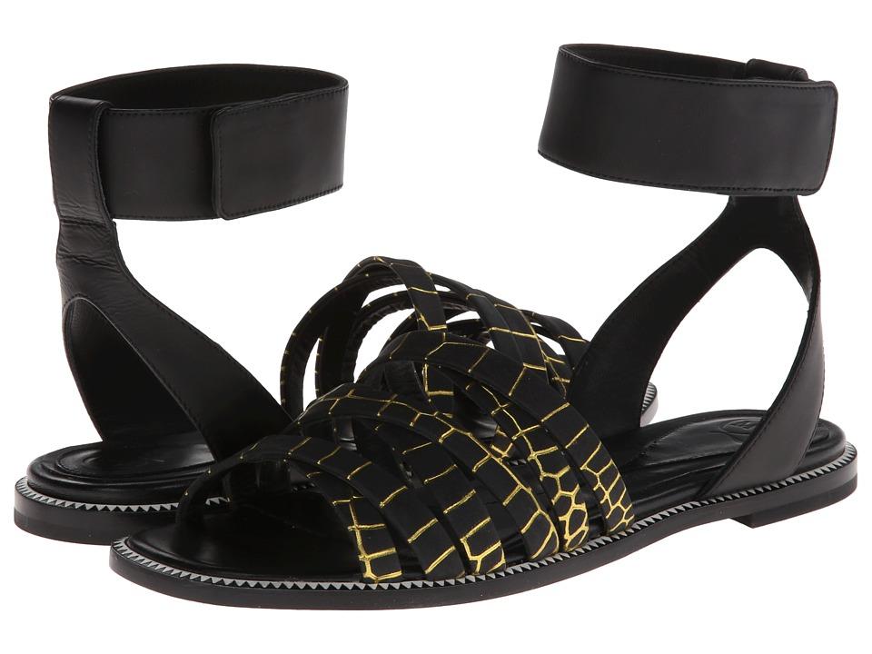 McQ - Erin Criss Cross (Black/Citrus) Women's Sandals