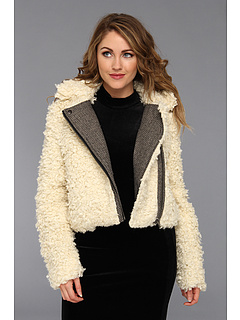 SALE! $136.99 - Save $111 on Free People Shaggy Fur Moto (Ivory) Apparel - 44.76% OFF $248.00