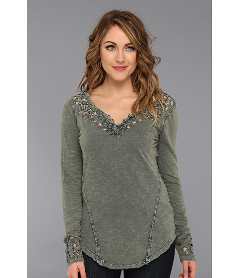 Free People - Blue Luna Long Sleeve Top (Dark Turquoise) Women's Clothing