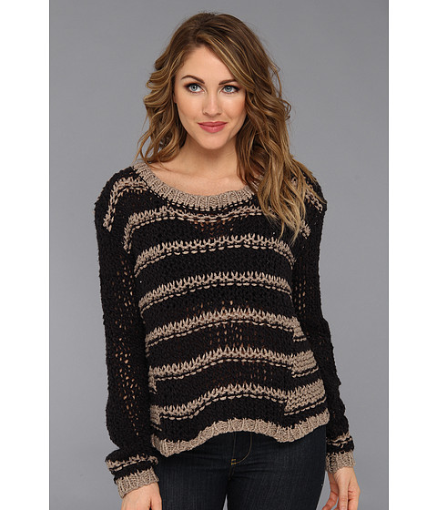Free People - Provence Striped Pullover (Black Combo) Women