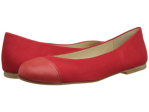 French Sole - Lexi (Red Leather/Linen) Women