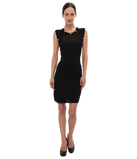 Versace Jeans Illusion Neckline Sheath Dress (Nero) Women's Dress