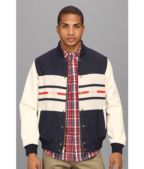 The Portland Collection by Pendleton - Franklin Varsity Jacket (Navy Camp Stripe) Men