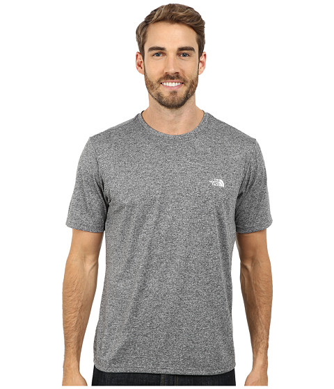 The North Face - S/S Reaxion Amp Crew (Heather Grey/TNF White) Men's T Shirt