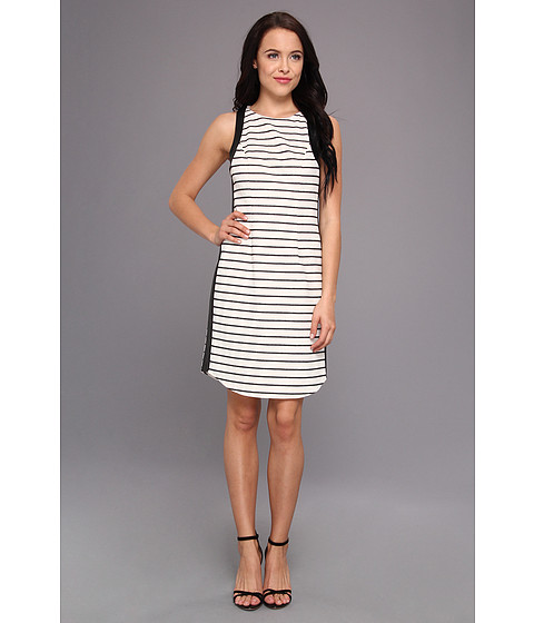 Jessica Simpson - Sleeveless Dress w/ Contrast Armhole And Side Bands (Cream/Black) Women's Dress