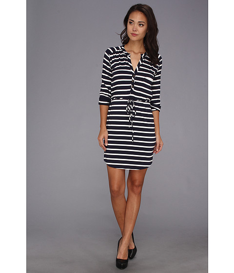 LAmade - Stripe Henley Dress (Navy/White) Women