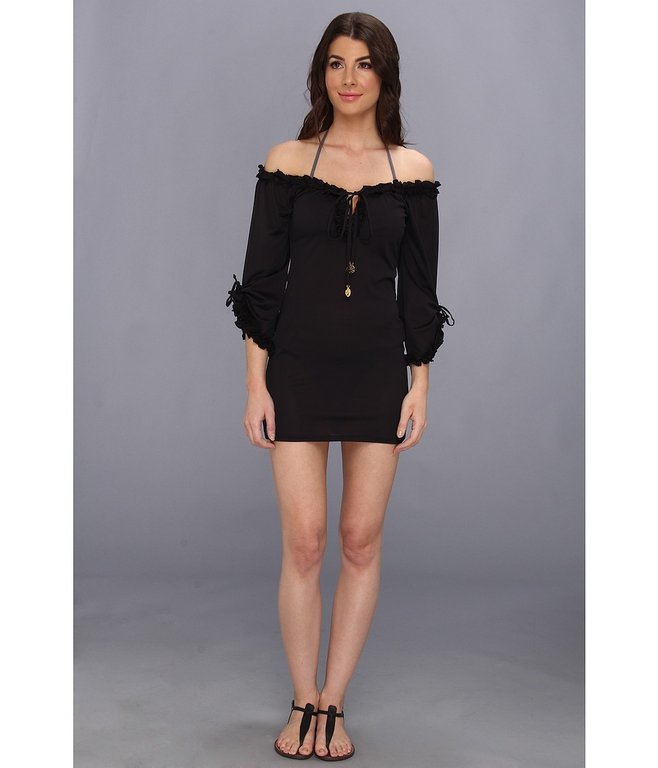 Luli Fama - Cosita Buena Ruffle V-Neck Dress Cover-Up (Black) Women's Swimwear