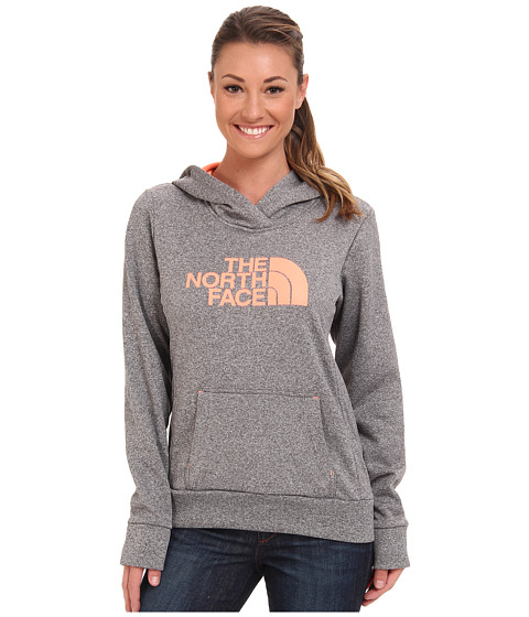 The North Face - Fave Pullover Hoodie (Heather Grey/Electro Coral Orange) Women
