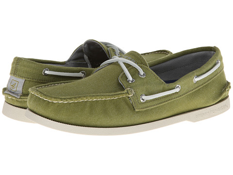 Sperry Top-Sider - A/O 2-Eye Soft Canvas (Olive) Men's Slip on Shoes