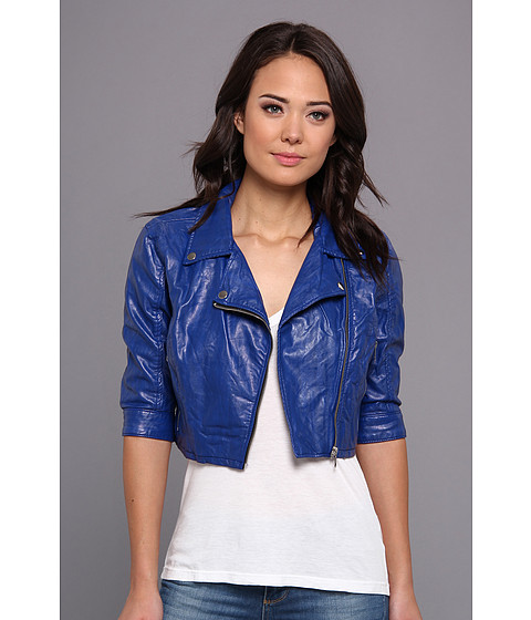 Blank NYC - Vegan Leather Crop Jacket in Cobalt Blue (Cobalt Blue) Women