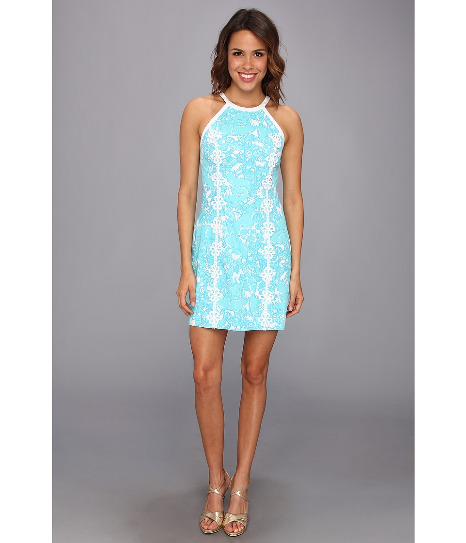 Lilly Pulitzer - Pearl Halter Shift Dress (Shorely Blue Shes A Fox) Women's Clothing