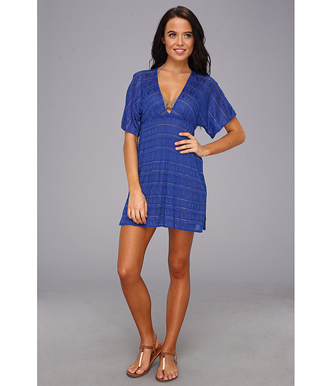 Vitamin A Swimwear - Paradise Plunge Tunic Cover-up (Klein Blue Crochet) Women's Swimwear