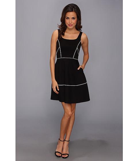 ABS Allen Schwartz - Square Neck Dress w/ Piping (Black) Women