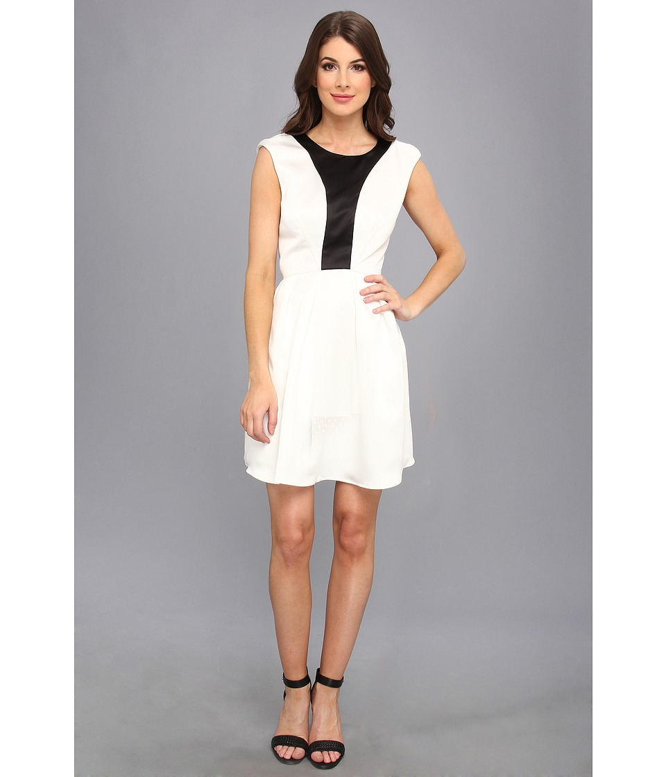ABS Allen Schwartz - Color Blocked Bodice Fit Flare Dress (Off White/Black) Women's Dress
