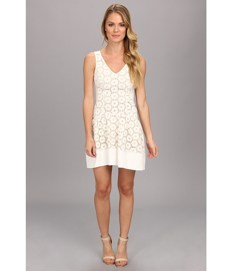 ABS Allen Schwartz Drop Waist Eyelet Dress (Ivory) Women