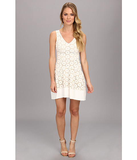 ABS Allen Schwartz - Drop Waist Eyelet Dress (Ivory) Women