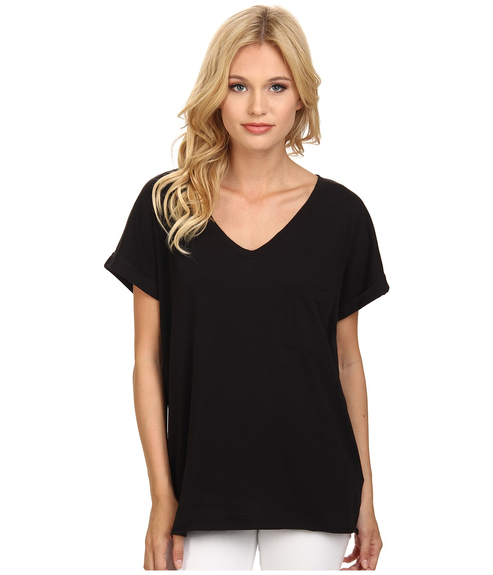 C&C California - Roll Sleeve Raw Edge V-Neck Tee (Black) Women's T Shirt
