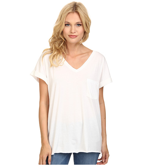 C&C California - Roll Sleeve Raw Edge V-Neck Tee (White) Women's T Shirt