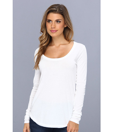 C&C California - L/S Raw Edge Layering Tee (White) Women's T Shirt