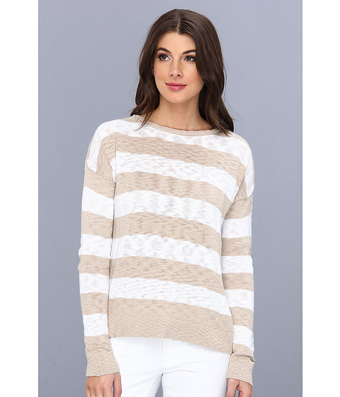 C&C California - L/S Stripe Crew Neck Sweater (Dark Desert Sand) Women's Sweater