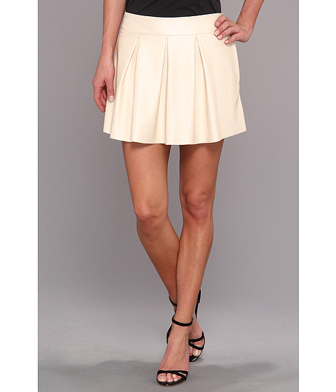 C&C California - Pearlized Faux Leather Mini Skirt (Pearl White) Women