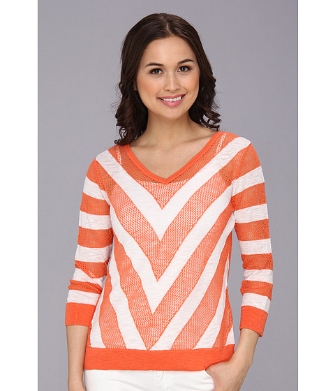 C&C California - 3/4 Sleeve Chevron Sweater (Persimmon) Women