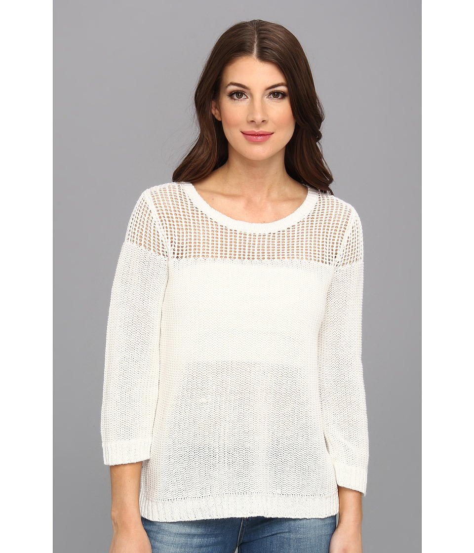 C&C California - Mesh Jersey Mix Sweater (White) Women's Sweater