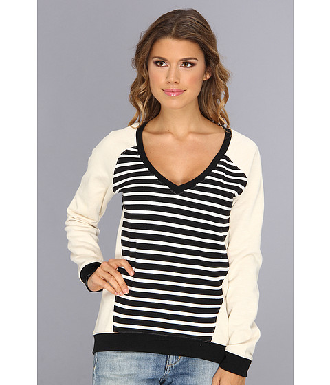 Sanctuary - V-Neck Sweater (Black/White/Ivy) Women's Sweater