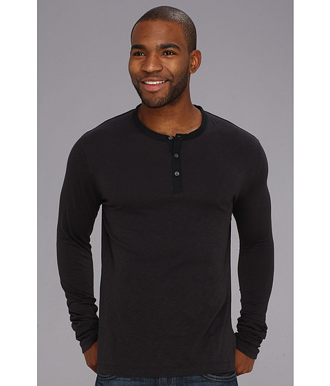 French Connection - Henley Slub Long Sleeve (Darkest Blue) Men's Long Sleeve Pullover