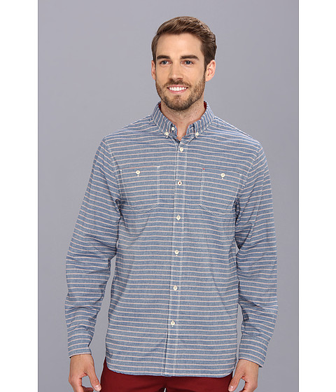 Howe - Ground Swell Stripe L/S Woven (Midnight Oil) Men