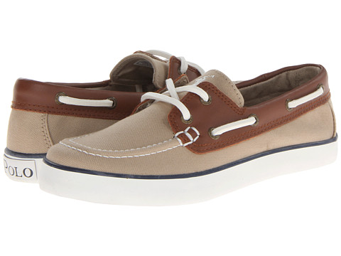Polo Ralph Lauren Kids - Sander (Big Kid) (Khaki Canvas/Tan Leather) Boys Shoes