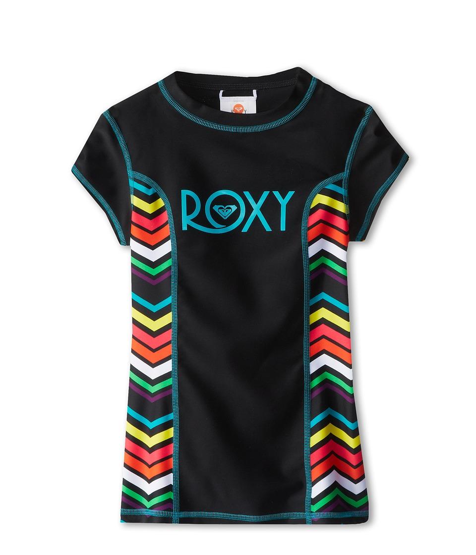 Roxy Kids Wave Wonderer S/S Rashguard Girls Swimwear (Black)